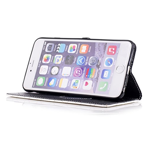 iPhone 6 Plus Custodia, iPhone 6S Plus Cover Wallet, SainCat Custodia in Pelle Cover per iPhone 6/6S Plus, Anti-Scratch Protettiva Caso Elegante Creativa Dipinto Pattern Design PU Leather Flip Portafo bianco