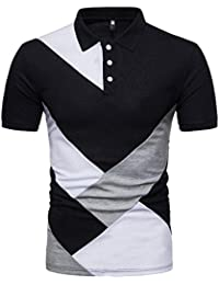 43fd7fed11e22 Polo T-Shirt Chemisier à Manches Courtes Slim Patchwork Casual Homme Malloom