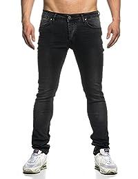 Tazzio 16519 Jeans Slim Fit pour homme, aspect usé, style motard, noir