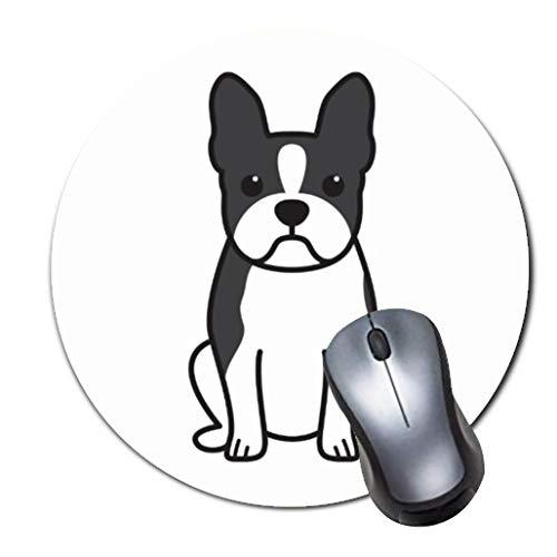 2er-Pack Dickes Gummi-Mauspad in Premium-Qualit?t Rundes Mauspad mit weichem Tragekomfort Gaming-Mauspad von ROOMBA-Boston Terrier Hund Cartoon Throw Kissen - Schwarz-throw-kissen