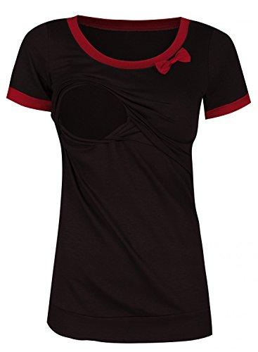 Happy Mama. Femme T-shirt de maternité allaitement double couches. Noeud. 996p Noir & Cramoisi