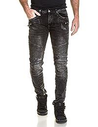 BLZ jeans - Jeans fashion noir délavé nervuré et zip