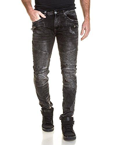 BLZ jeans - Mode verblasste schwarze Jeans und Reißverschluss gerippt Schwarz