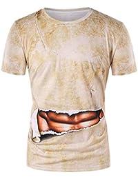 FIRSS Herren Kurzarmshirt,3D Muscle Drucken Pullover Business Lustiges  Muster Sweatshirt Rundhals T-Shirts 2a7947ae82