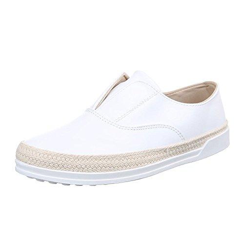 Damen Schuhe Moderne Low-Top Slipper Halbschuhe Ital-Design Weiß