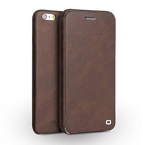 """qialino Echt Leder Flip Handytasche für iPhone 6/Plus, Ultra Slim Handy Blenden und Backshell Displayschutzfolie Fall mit Magnetisches Cover, Leder, Light-Brown, iphone6 4.7"""" Dark-Brown"""