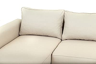 Boston Corner Sofa Bed with Storage in Cream Linen Fabric by Abakus Direct