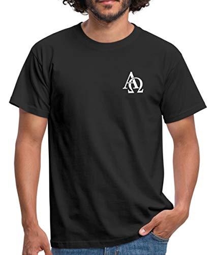 Spreadshirt Alpha Omega Männer T-Shirt, L, Schwarz -