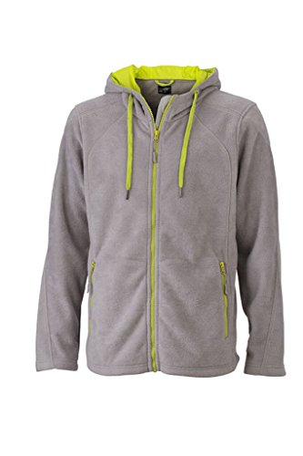JAMES & NICHOLSON Moderna giacca in pile con cappuccio steel-grey/acid-yellow