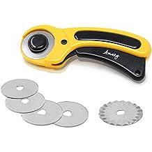 Amazy Cortador de Tela, incluye 1 + 5 Cuchillas Circulares – Cutter rotativo para cortar tela con mecanismo de protección integrado (∅ 45 mm)