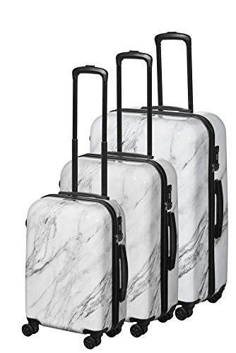 PURE Marmor Koffer – Handgepäck Größe S-M-L - Modischer Hartschalen Trolley Mit 8 Laufruhigen Rollen – TSA Schloss Sicheres Reisen In Die USA - Marble...