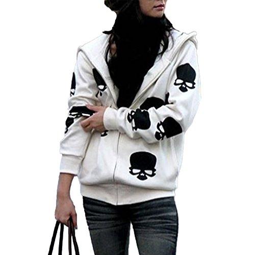 Frauen Loose Casual College Kapuzenpullover Totenkopf Aufdruck Sweatjacke Zip-Hoodie Tops (EU 40-42(L), Weiß) Zip-hoodie-top