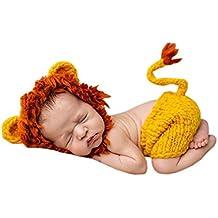 DELEY Unisex Bebé León Disfraz Infantil Ropa Traje de Fotografía Props  Crochet Sombrero de punto Pantalones 17563ea27d3