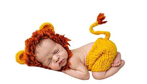 Herren Löwen Kostüm - DELEY Unisex Baby Löwen Kostüm Kleinkind Kleidung Outfit Foto Requisiten Crochet Knit Hut Hose Set 0-6 Monate