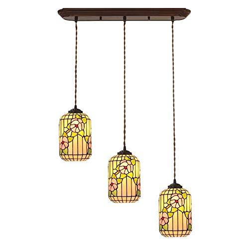 Pflaumen-glas-anhänger (QCKDQ Tiffany-Stil Kronleuchter Glasmalerei Anhänger Lichter Pflaume Blüte Wohnzimmer Schlafzimmer Esszimmer Dekoration Anhänger Deckenleuchten, E27)