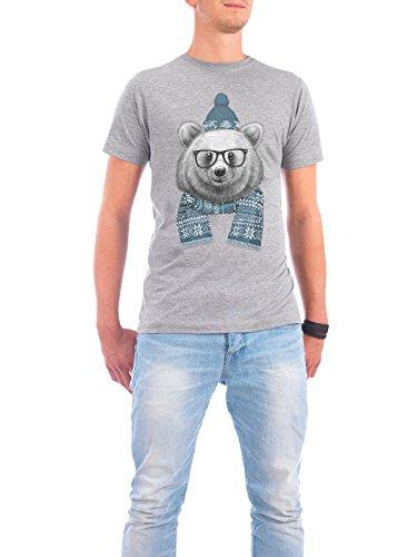 """Design T-Shirt Männer Continental Cotton """"Winter bear"""" - stylisches Shirt Tiere Natur von Nikita Korenkov Grau"""