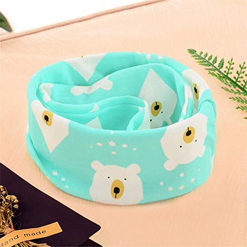 FairOnly Baby Lätzchen Print Baumwolle Double-Layer-Cartoon-Schal Blue Polar Bear Double-layer-schal