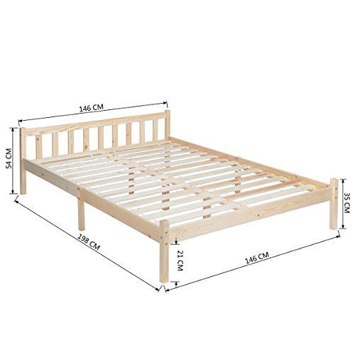 EGGREE 4ft 6 Wooden Beds in Natural Wood, (TM) Strong Structure Solid Pine Wood Double Wood Bed Frame Base,198cm x 146cm