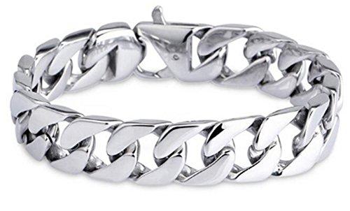 SaySure–316L Edelstahl Link Kette Armband Herren, Herren, Silver 20 CM