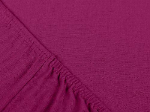npluseins klassisches Jersey Spannbetttuch - erhältlich in 34 modernen Farben und 6 verschiedenen Größen - 100% Baumwolle, 90-100 x 200 cm, pink - 4