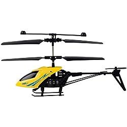 elegantstunning Helicóptero Resistente Al Choque Mini RC de 2 Canales con Luz de Led Regalo de Juguete para Niños Amarillo