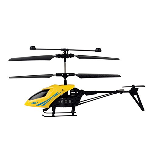 Elegantstunning Helicopter Shock Resistant Mini RC 2 Channels with Led Light Toy Gift for Kids Yellow
