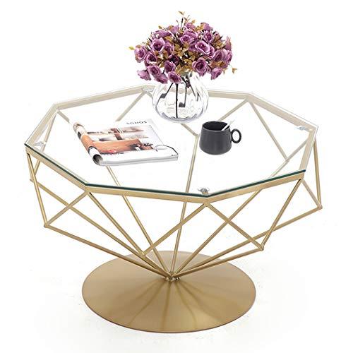 Schlafzimmer Klar Beistelltisch (Runder moderner eleganter seitlicher Couchtisch, Akzent-Sofatisch für Wohnzimmer-Schlafzimmer-Balkon, Goldmetallrunde Unterseite, transparenter klarer ausgeglichenes Glas-Speisecocktail-Tisch)