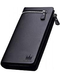 U.S. CROWN Imported Men And Women Designer Long Brown Zipper Wallet