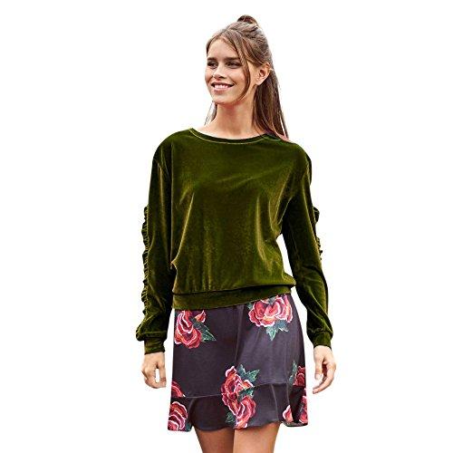 Topgrowth Maglietta Donna Maniche Lunghe Velluto Tinta Unita Ruffles Camicia Casuale Elegante Camicetta Top Armygreen