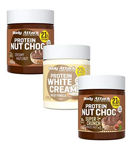 Body Attack Protein Choc 3er Pack, Low Carb-Aufstrich mit Whey (3x250g) (Protein Nut Choc Hazelnut Super Crunch, Creamy Hazelnut & Milky Vanilla)