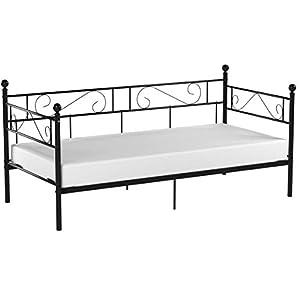 [en.casa] Tagesbett 90×200 Schwarz Metallbett Bett Daybed Bettsofa Kojenbett Jugendbett Gästebett