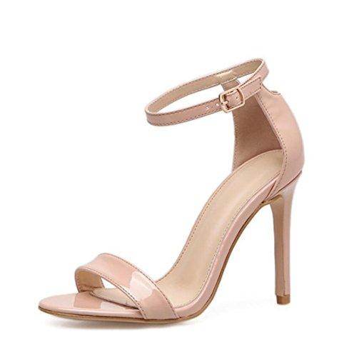 LINYI Frauen Klassische Stiletto Heels Fisch Mund Offene Zehe Sandalen Künstliche PU High Heels Große Größe 40,Apricot-36
