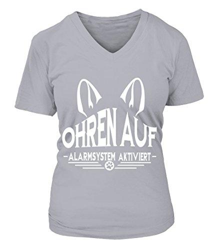 HUNDE Motiv T-Shirt: Ohren auf - Alarmsystem aktiviertDamen Shirt Größe S bis XXXXL - in versch. Farben Sport Grau