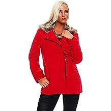 Moda Italy Chaqueta corta para mujer Chaqueta estilo Blouson con chaqueta de transición de cremallera diagonal de cuello de piel sintética