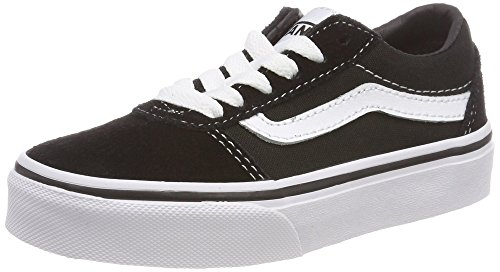 Vans Unisex-Kinder Ward Suede/Canvas Sneaker, Schwarz ((Suede/Canvas) Black/White Iju), 34 EU (Skateboard-34)