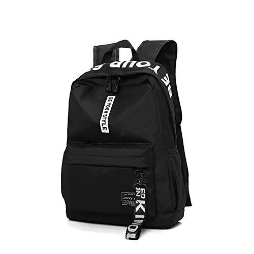 MEOBHI SchultascheFashion Teen Schultaschen für Mädchen Teenager Jungen Rucksack Damen Herren Schultasche Nylon Solid Black Pink Large Student Bookbag 2019, White Word