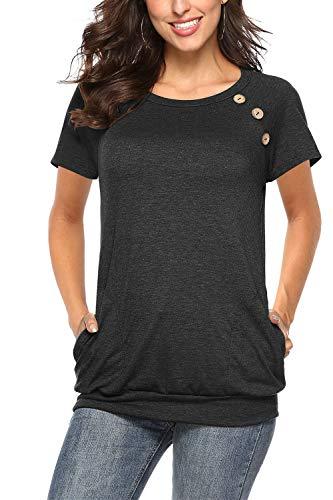 NICIAS Damen Sommer T-Shirt Kurzarm Oberteil Shirt Lässige Schaltflächen Hemd Bluse Tunika Top mit Taschen Schwarz XL