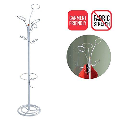 Art of storage, appendino a forma di albero per cappelli, cappotti, sciarpe, ombrelli, moderno e alla moda brahms silver