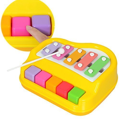 Ehomekart 5 Keys - Xylophone Piano - With 2 Mallet Sticks - No Batteries Needed - 22 x 20 x 9 cm - Colour May Vary