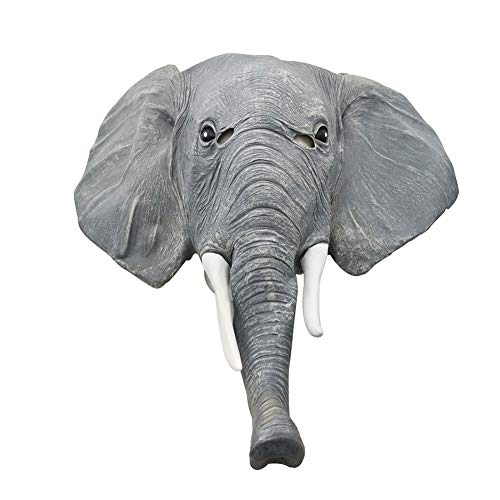 HYJMJJ Elefante Adulto Cabeza Máscara Decoraciones Fiesta Halloween Realista Lindo Disfraz De Animal De Halloween Cosplay Headgear