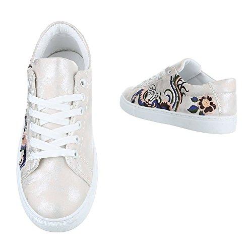 Low-Top Sneaker Damenschuhe Low-Top Sneakers Schnürsenkel Ital-Design Freizeitschuhe Rosa Silber FC-S31