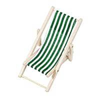 huyipin Doll House Miniature Foldable Wooden Beach Chair Chaise Longue Deck Chair Mini Furniture Accessories1:12