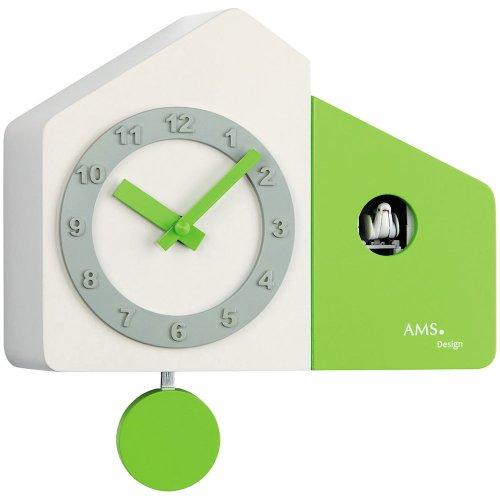Orologio a pendolo ams 7395orologio da parete orologio a cucù al quarzo pendolo legno laccato in bianco e verde