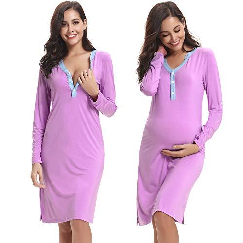 Hawiton pigiama camicia da notte premaman da donna morbido in cotone manica lunga vestito camicia da notte per parto ospedale allattamento xl