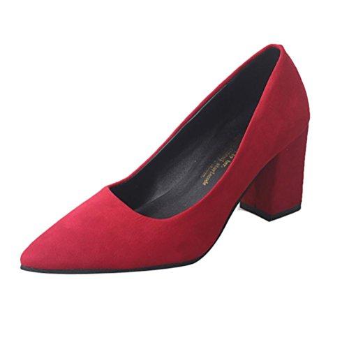 Transer® Damen Keilabsatz Mokassins Wildleder Schwarz Grau Rot High Heel Spitzen Schuhe Einzelschuhe (Bitte achten Sie auf die Größentabelle. Bitte eine Nummer größer bestellen!) Rot