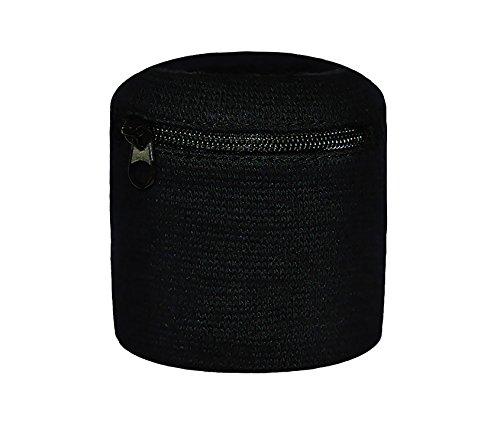 Multifunktions-Schweißband mit praktischer Tasche und Reißverschluss / Ski Armband - Geldbeutel (schwarz (S))