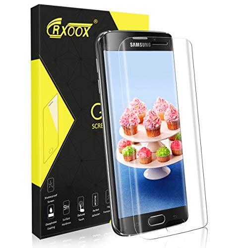 CRXOOX Panzerglas Bildschirmschutzfolie für Samsung Galaxy S6 Edge Volle Abdeckung Panzerglasfolie Empfindliche Berührung Panzerglas Schutzfolie Blasenfrei Einfache Montage für Samsung Galaxy S6 Edge