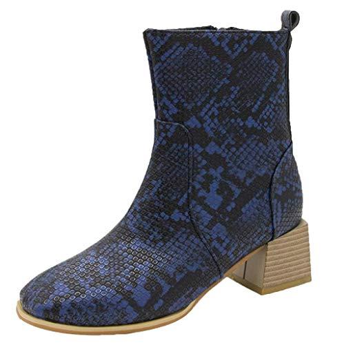Dorical Damen Vintage Knöchel Stiefeletten Gummistiefel mit Blockabsatz, Frauen Kurz Schlange Reißverschluss Square Heel Übergroße Ankle Boots Gr 35-43(Blau,39 EU)