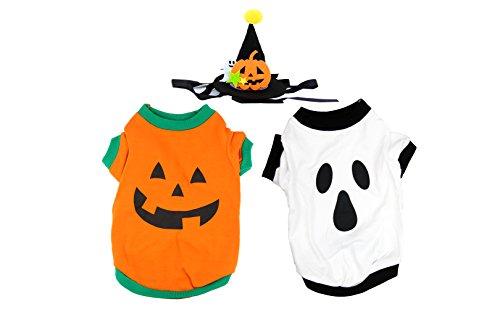 Haustier Hund Urlaub Halloween Kostüme Set.Inklusive Festivals Kürbis T-Shirt Kostüm und weiße Baumwolle Ghost Welpen Party Kleider, schwarze Welpen Dekorationen (Kostüme Halloween Cute Pet)
