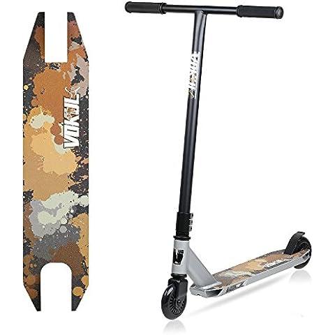Vokul® TG-6061–Monopattino Stunt Scooter Monopattino leggero, in alluminio resistente con ruote in uretano di alta qualità, S-silver